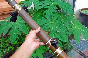 Điếu Nứa đồng nổi Chân nõ gỗ mun sịn sò