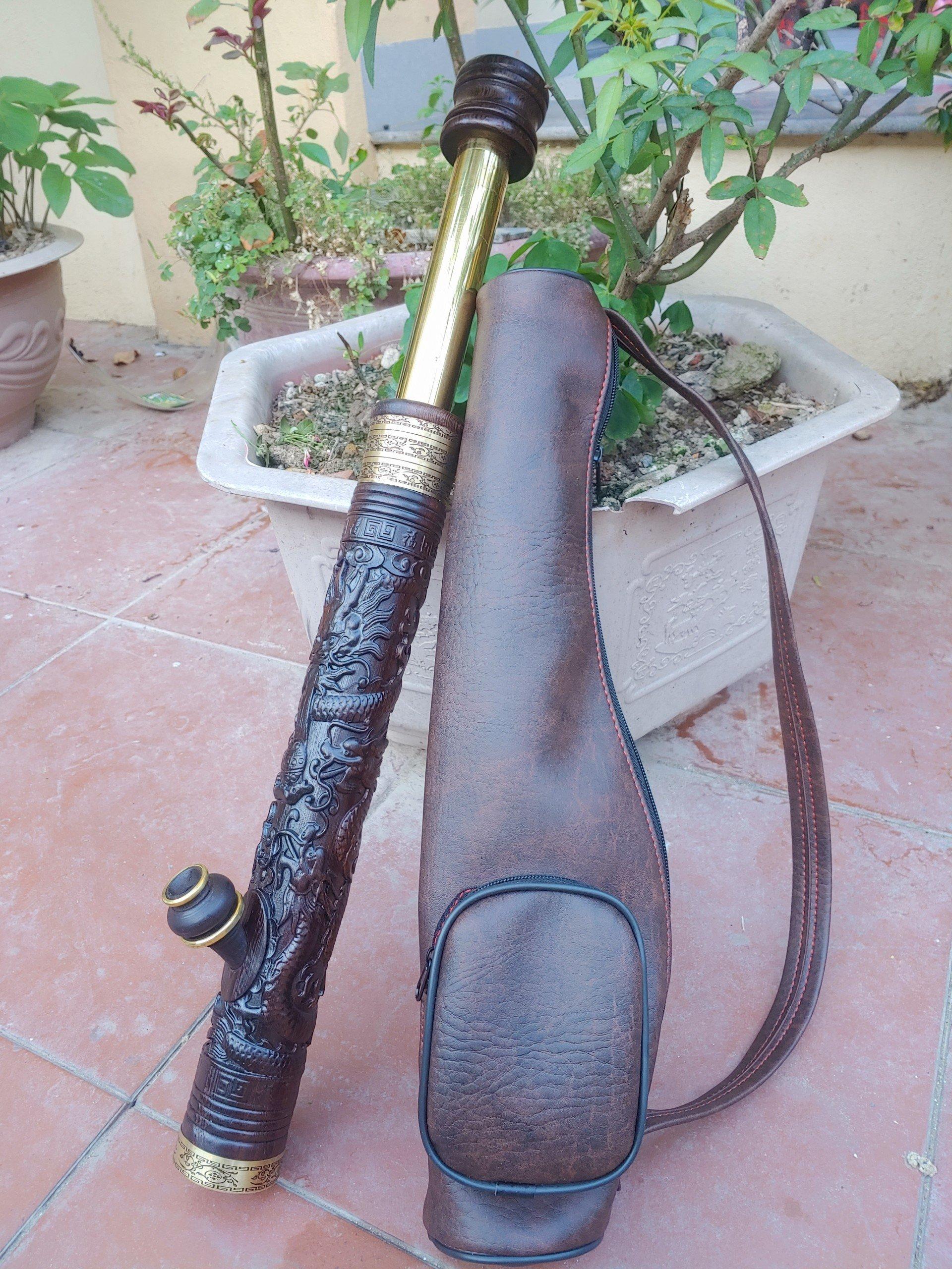 Điếu cày mini biến hình gỗ Mun đục Rồng Phượng